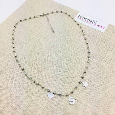 Collana argento 925 rosario lettera iniziale nome e charms