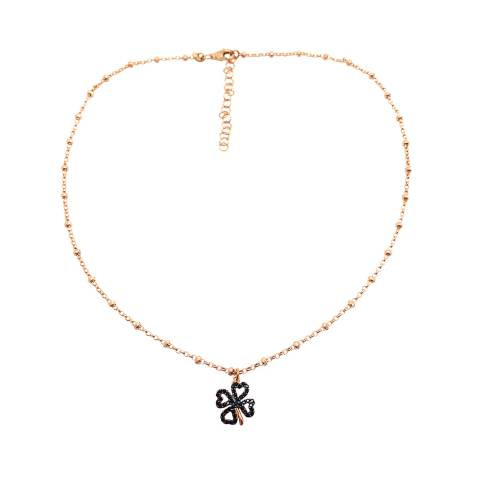 Collana argento 925 rosario oro rosa Quadrifoglio Zirconi neri