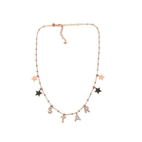 Collana argento 925 rosario oro rosa STAR Zirconi + stelle