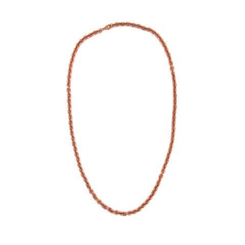 Collana catena rolò tonda grande argento 925 oro rosa