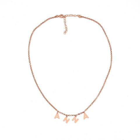 Collana choker argento 925 oro rosa 4 lettere nome personalizzato