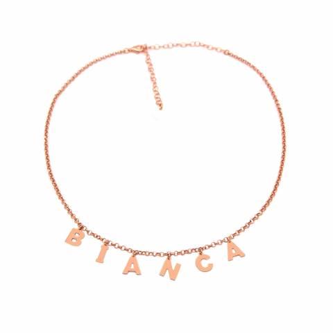 Collana choker argento 925 oro rosa 6 lettere nome personalizzato