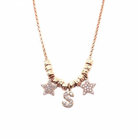 Collana choker argento 925 oro rosa lettera iniziale nome e stelle Zirconi con rondelle