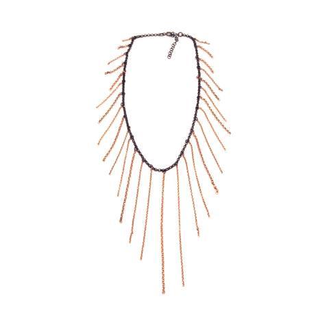 Collana choker argento 925 rodiato nero catenelle oro rosa
