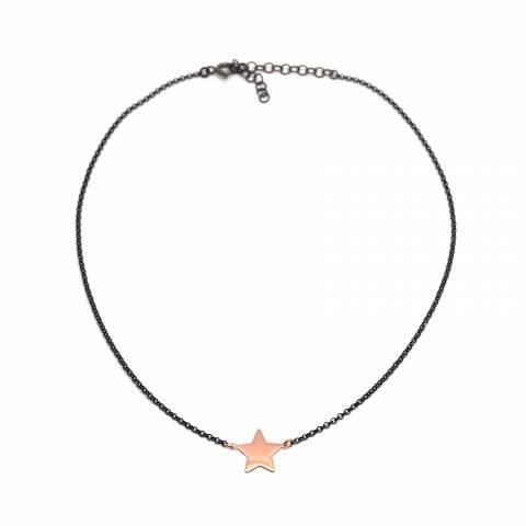 Collana choker argento 925 rodiato nero Stella oro rosa