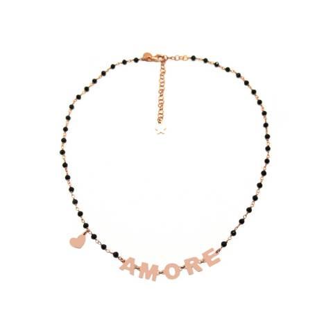 Collana choker rosario argento 925 oro rosa Spinelli neri AMORE