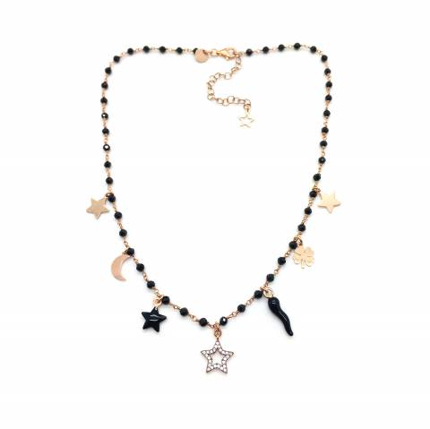 Collana choker rosario argento 925 oro rosa Spinelli neri multi charms