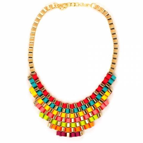 Collana corta a colletto catene dorate e nastri colorati intrecciati