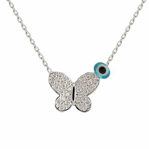 Collana corta argento 925 Farfalla brillanti