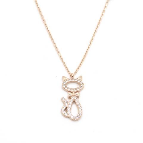 Collana corta argento 925 oro rosa ciondolo Gatto brillanti