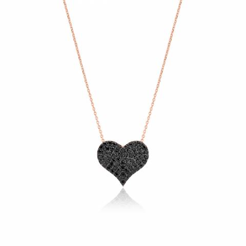 f89f9a33bd1 Black Cubic Zirconia Heart rose gold sterling silver short necklace ...