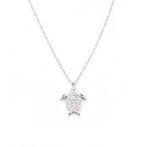 Collana corta argento 925 Tartaruga brillanti