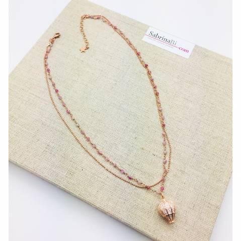 Collana doppia argento 925 oro rosa Mirta