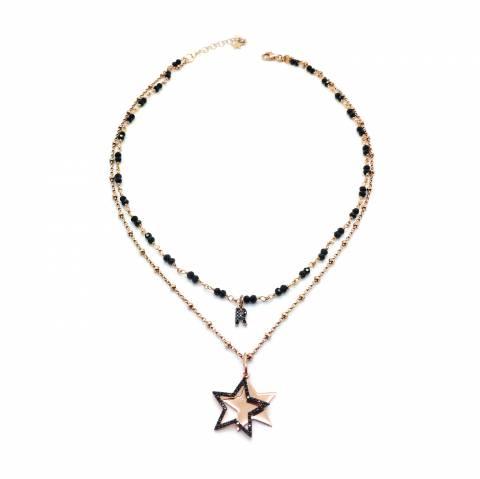 Collana doppia argento 925 oro rosa Sibilla