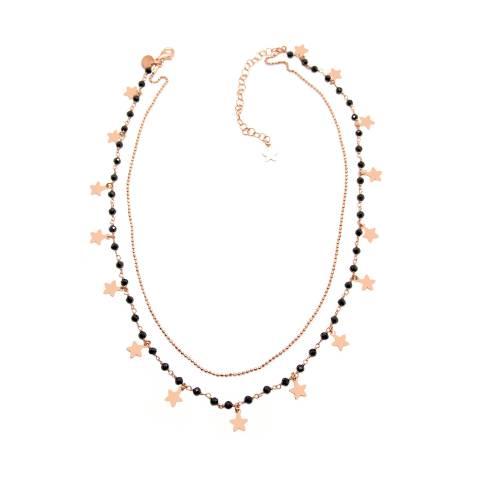 Collana doppia choker girocollo rosario argento 925 oro rosa Tutto Stelle