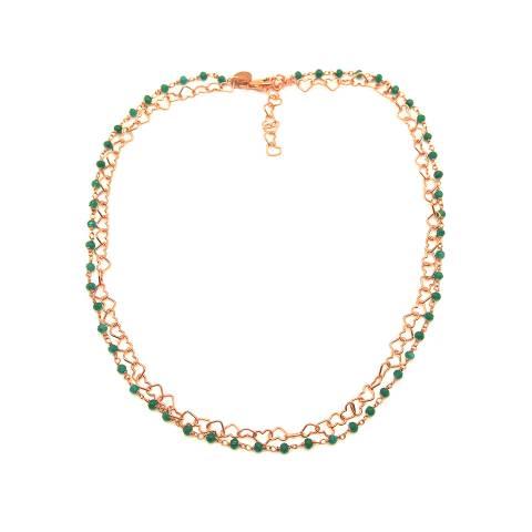 Collana doppia choker rosario argento 925 oro rosa radice di Smeraldo e catena cuori