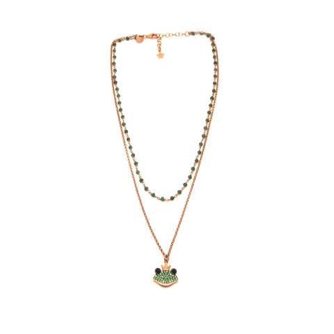 Collana due fili argento 925 oro rosa rosario radice di Smeraldo e Principe Ranocchio
