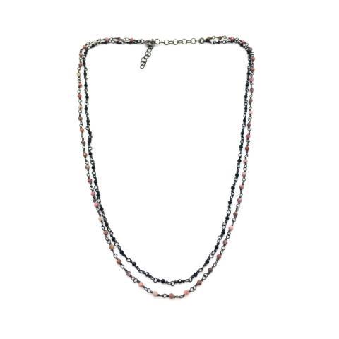 Collana due fili argento 925 rodiato nero rosario Calcedonio rosa