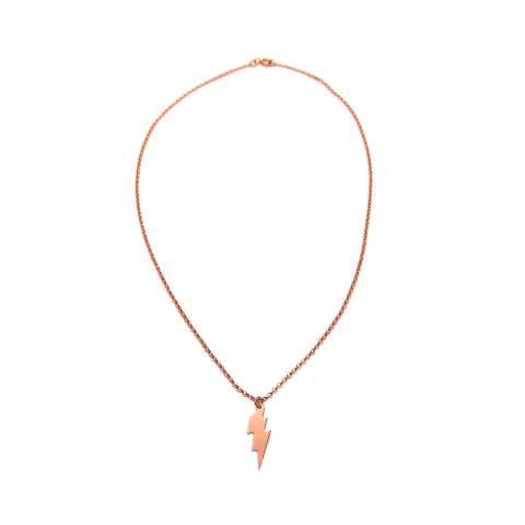 Collana girocollo argento 925 fulmine oro rosa