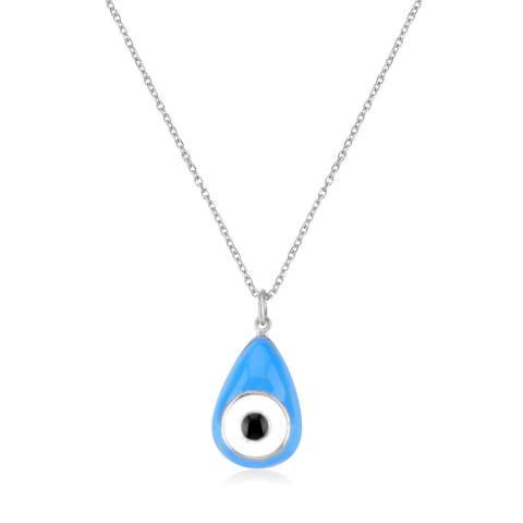 Collana girocollo argento 925 Occhio Allah pendente blu smalto