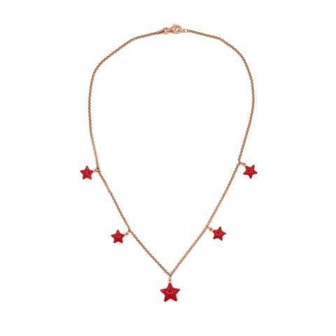 Collana girocollo argento 925 oro rosa 5 stelle smalto rosso