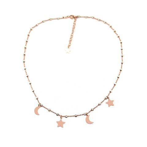 Collana girocollo argento 925 oro rosa palline argento Luna Stella