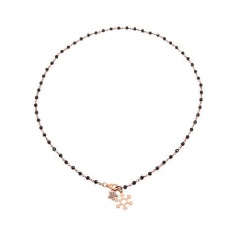 Collana girocollo argento 925 oro rosa rosario Spinelli neri Fiocco Neve e Stella Zirconi