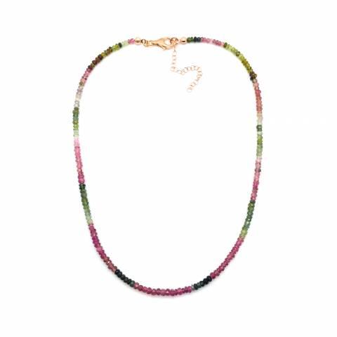 Collana girocollo argento 925 oro rosa Tormalina