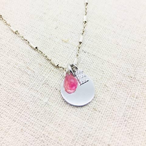 Collana girocollo argento 925 Quarzo rosa e lettera iniziale nome