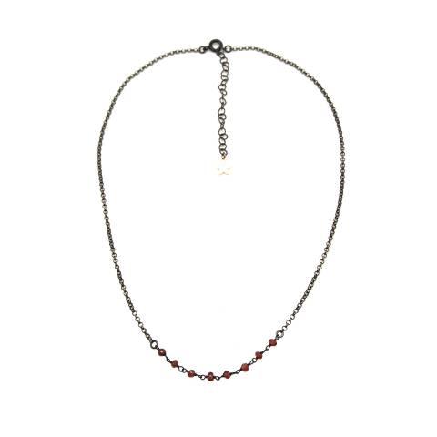 Collana girocollo argento 925 rodiato nero inserto Granati