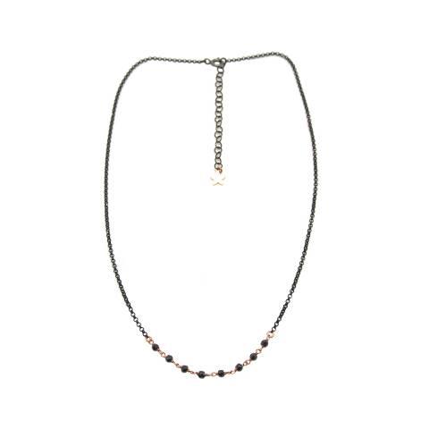 Collana girocollo argento 925 rodiato nero inserto Spinelli neri