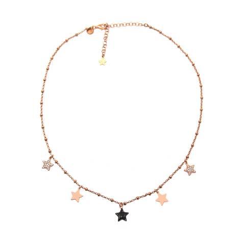 Collana girocollo argento 925 rosario oro rosa Cinque Stelle