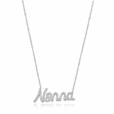 Collana girocollo argento 925 scritta Nonna brillanti
