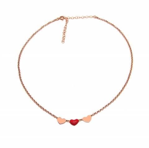 Collana girocollo choker argento 925 oro rosa 3 cuori