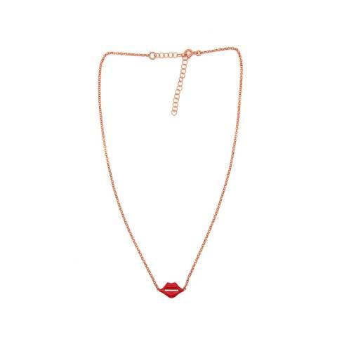 Collana girocollo choker argento 925 oro rosa Bacio rosso
