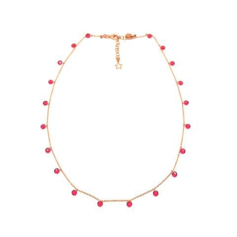 Collana girocollo/ choker argento 925 oro rosa cascata Zirconi fuxia