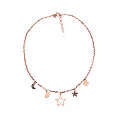 Collana girocollo choker argento 925 oro rosa ciondoli 5 charms