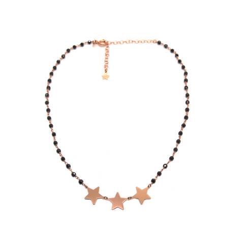 Collana girocollo choker argento 925 oro rosa rosario Spinelli neri e 3 stelle grandi