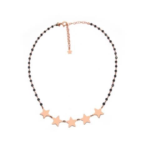 Collana girocollo choker argento 925 oro rosa rosario Spinelli neri e 5 stelle grandi
