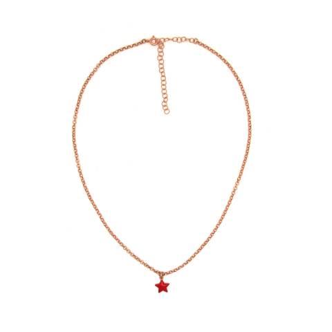 Collana girocollo choker argento 925 oro rosa stella piccola smalto rossa