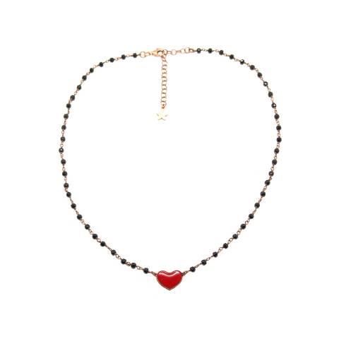 Collana girocollo choker rosario argento 925 oro rosa Spinelli neri e cuore smalto rosso