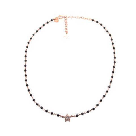 Collana girocollo choker rosario argento 925 oro rosa Spinelli neri e stella Zirconi