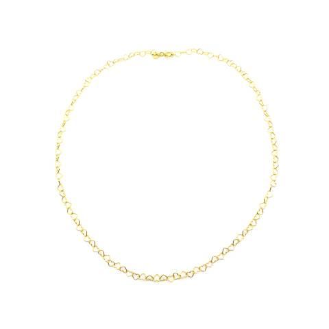 Collana girocollo con maglia a cuore micro argento 925 oro giallo