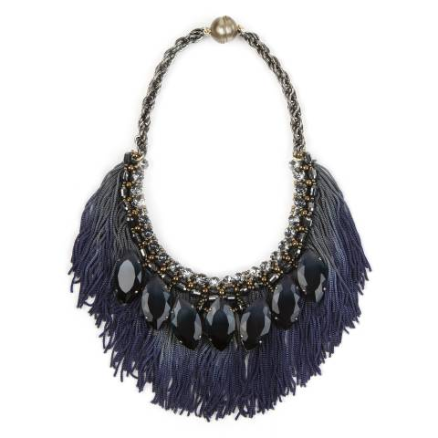 Collana girocollo con Swarovski, frangia di seta blu e navette di cristallo