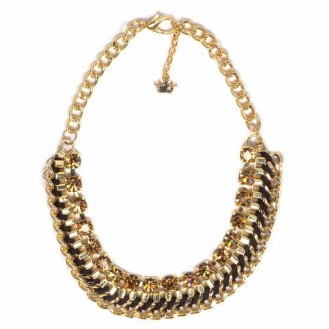 Collana girocollo oro catena cristalli bronzo