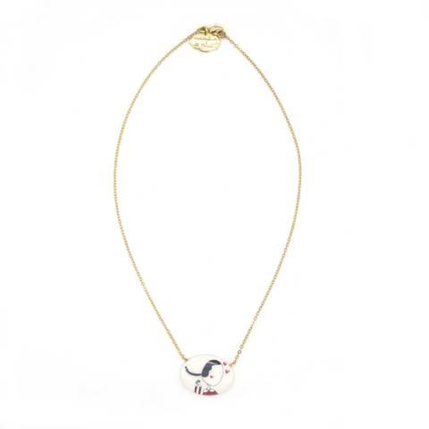 Porcelain Olivia gold-plated short necklace