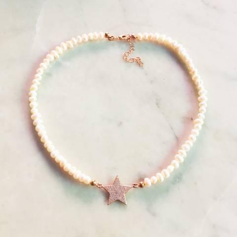 Collana girocollo perle maxi stella Zirconi
