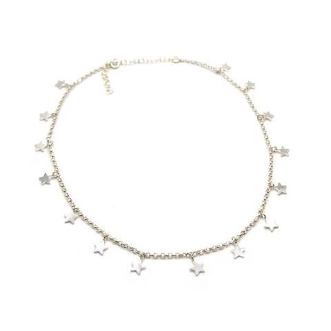 Collana girocollo/ strozzacollo/ choker argento 925 mini stelle