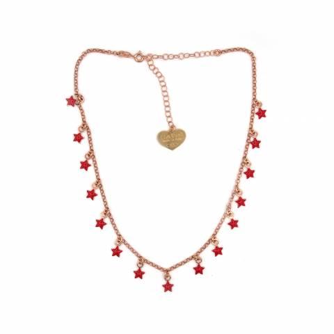 Collana girocollo/strozzacollo/choker argento 925 oro rosa mini stelle rosse