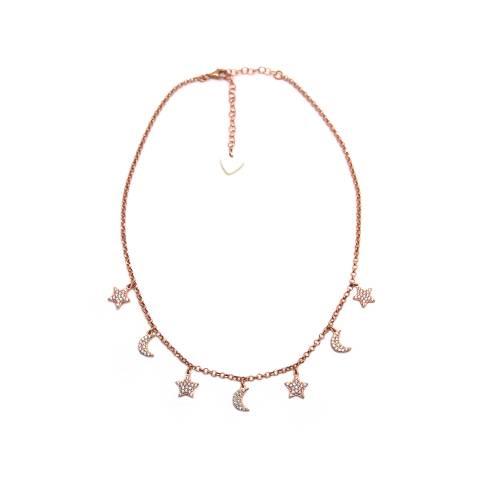 Collana girocollo/ strozzacollo/ choker argento 925 oro rosa Stelle e Lune Zirconi